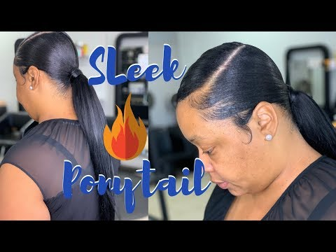 22 inch sleek ponytail using 10 inch hair Murray's beez wax Swoop ponytail