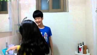 Cute korean kid playing