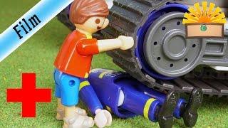 UNFALL! Unter THW Ketten-BAGGER geraten! - FAMILIE Bergmann #147 - Playmobil Film deutsch
