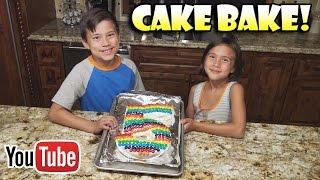 EPIC CAKE BAKE!!! 5 Year YouTube Anniversary! Yummy Rainbow M&M Cake!