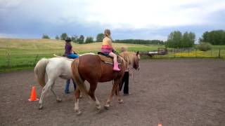 little girls riding horses for the first time