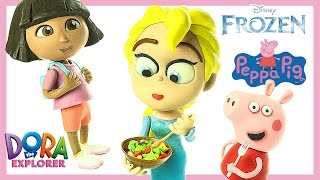 Playdoh Stop Motion Animation: Frozen 2 ELSA Cooking for Dora and Peppa Pig Carton Short