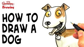How to draw a cartoon dog - step by step