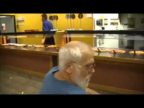 Angry hungry old man wants his deep dish pizza