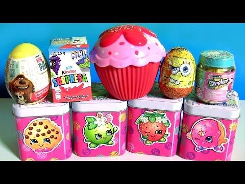 Strawberry Cupcake Doll Surprise Shopkins Chef Club Jar Season 6 Shopkins Tin Kinder Egg SpongeBob