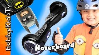 Hoverboard Action! Batman Rides a Self Balancing Wheel by HobbyKidsTV