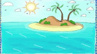 Drawing a simple island | How to draw an island | Drawing for kids