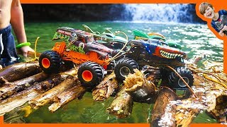 Monster Trucks for Children - Building Primitive Raft