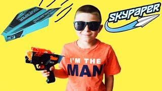 Kids Skypaper Paper Plane Launcher unboxing and review with Ryan and Dad! Family fun kids video epic