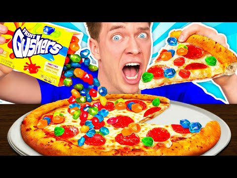 WEIRD Food Combinations People LOVE PIZZA & SOUR CANDY Eating Funky & Gross Impossible Foods