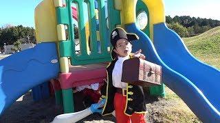 お宝探して海賊ごっこ!!! 恐竜におそわれた~!!? 秘密基地 発見!!? こうくんねみちゃん Treasure hunt Pirates Secret base discovery