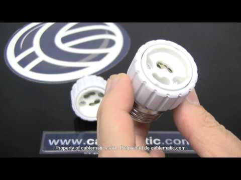 Adaptador bombilla casquillo E14/E27 a GU10 cerámico distribuido por CABLEMATIC ®