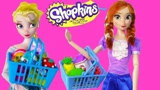 Disney Frozen Eating Shopkins Queen Elsa Princess Anna Barbie House Dolls Part 1