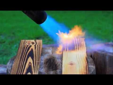 Flash Burning a Yellow Pine Wood Picnic Table