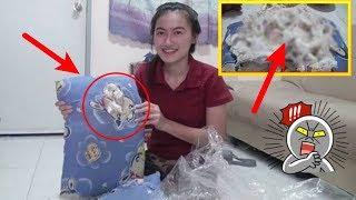 Wanita ini beli bantal seharga 20ribu, ada benjolan di dalamnya ternyata pas dibedah isinya ini