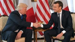الرئيس الفرنسي ماكرون يعقد أول لقاء مع نظيره الأمريكي دونالد ترامب