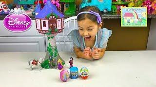 Disney's Tangled Big Rapunzel Tower Castle & Kinder Surprise Egg Kids Toys - Disney Princess Videos