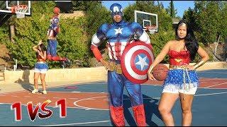 COUPLE 1v1 BASKETBALL - Captain America vs. Wonder Woman