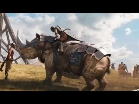 Okoye gets licked by rhino - Black Panther