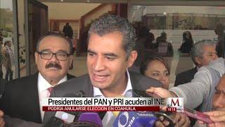Ochoa y Anaya acuden al INE ante probable anulación del elecciones en Coahuila