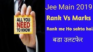 Jee main Rank Vs Marks 2019 ! jee main rank vs marks after jee main april examination
