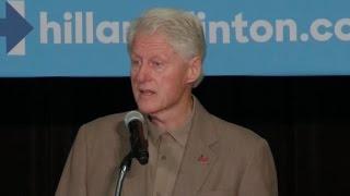 Heckler calls Bill Clinton a rapist