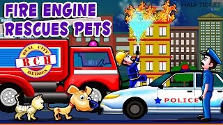 Fire Rescue team | Fire truck responding | Firetrucks and police car for children | Real City Heroes