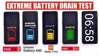 Realme 3 Pro vs Redmi Note 7 Pro vs Galaxy A50 vs Realme 3 - EXTREME BATTERY DRAIN TEST 🔥🔋