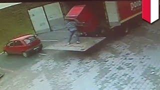 Shocking CCTV footage: Polish man CRUSHED by refrigerator while unloading truck