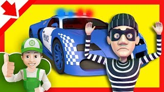 Carro policia para niños. Dibujos de policias en español. Autos de carreras. Coches infantiles.