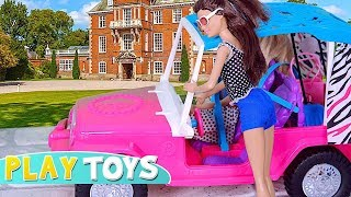Barbie Doll Dream House! Barbie Baby Dolls Drive Pink Car  to Set Barbie Bathroom, Bedroom, Kitchen