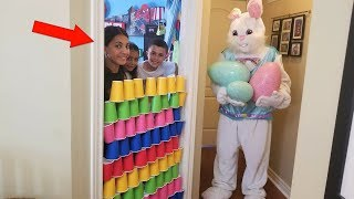 Kids Pretend Play with Giant Bunny In Real Life Surprise Eggs with Toys