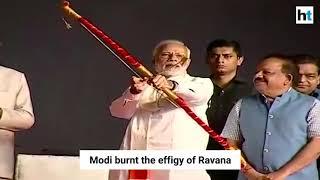 PM Modi celebrates Vijaydashmi, burns Ravana effigy