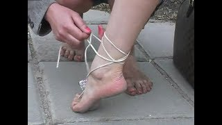 Girls with Dirty Soles and Flowers on Bare Feet