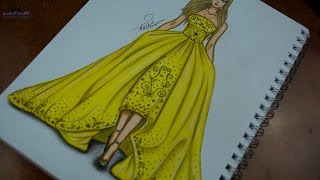 how to draw fashion designs - تعليم رسم فستان باللون الاصفر