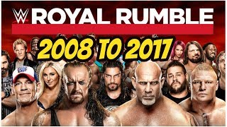 Royal rumble winners 2008 to 2017 highlights wwe royal rumble all time winners part 2