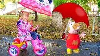 Funny Baby playing in the park with Peppa Pig  Rain Rain Go Away Song