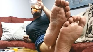 Male Feet Soles & Toes: Room Mate Foots Your Face [sneakers / socks]
