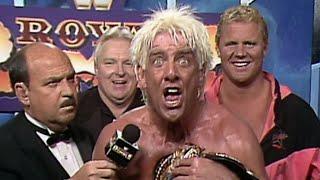 Ric Flair celebrates his 1992 Royal Rumble Match victory