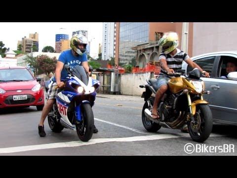Yamaha R1 Burnout R6 vs. 650F Honda Hornet CBR 1000RR S1000RR Sounds Accelerations and Revs