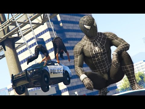 GTA 5 Mods BLACK SPIDERMAN MOD GTA 5 Symbiote Spiderman Mod Gameplay GTA 5 Mods Gameplay