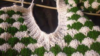 تريكو فستان للبنات شرح القبة الفيه السبعة مع الكم المزموم 2Knitting Dress