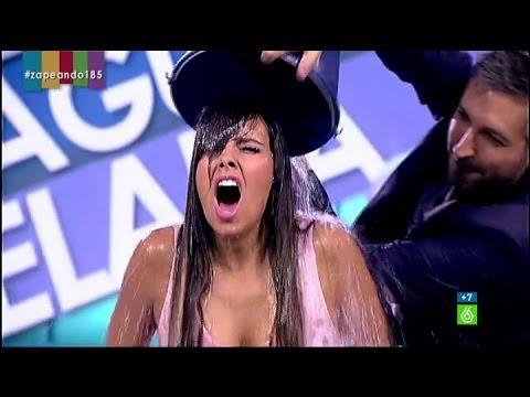 Cristina Pedroche se moja con el IceBucketChallenge en Zapeando