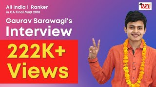 All India 1st Ranker in CA IPCC May 2017 - Interview with Gaurav Sarawagi
