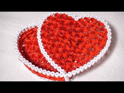 Quilling Gift Box Ideas  DIY Heart for Valentine   HandiWorks #53
