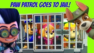 PJ Masks Romeo Sends Paw Patrol to Jail! Tracker the Jungle Pups Tries to Save Them!