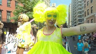 360 View of RuPaul's All Stars Drag Race Queens at NYC Pride Parade   Logo