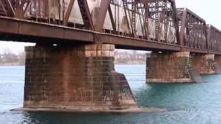 Freight trains crossing the International Bridge - built by Casimir Gzowski