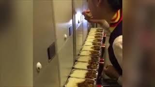 CHINA Airline  stewardess steals passengers' plane meals