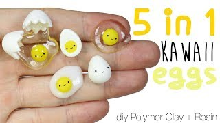 How to DIY 5-in-1 Kawaii Egg Polymer Clay/Resin Tutorial